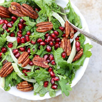 Kale, Fennel and Pomegranate Salad with Spiced Pecans | www.floatingkitchen.net