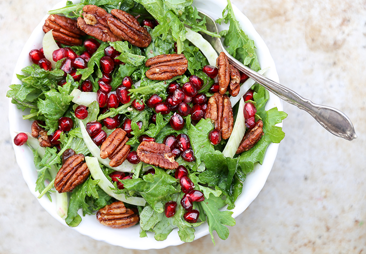Kale, Fennel and Pomegranate Salad with Spiced Pecans
