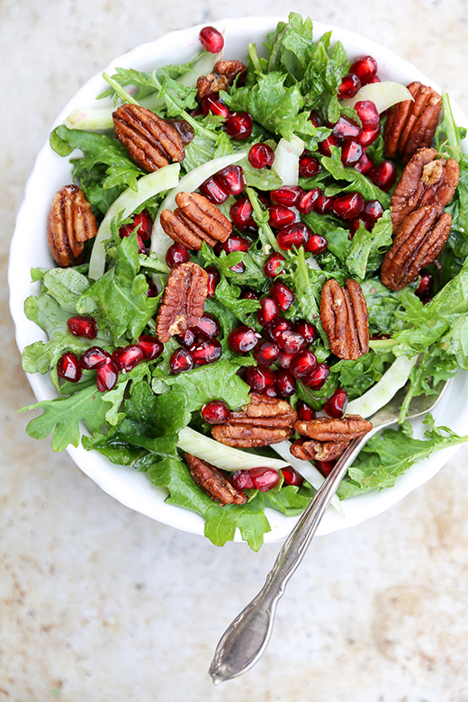 Kale, Fennel and Pomegranate Salad with Spiced Pecans   www.floatingkitchen.net