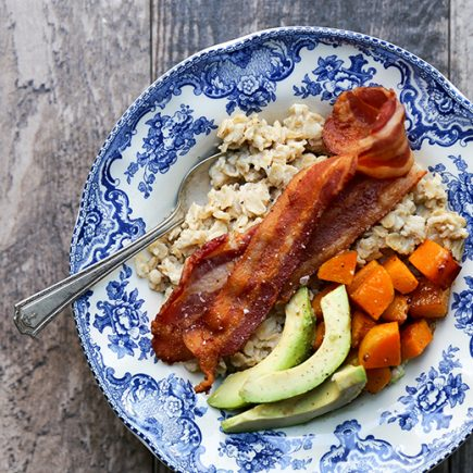 Savory Oatmeal with Bacon, Roasted Squash and Avocado | www.floatingkitchen.net