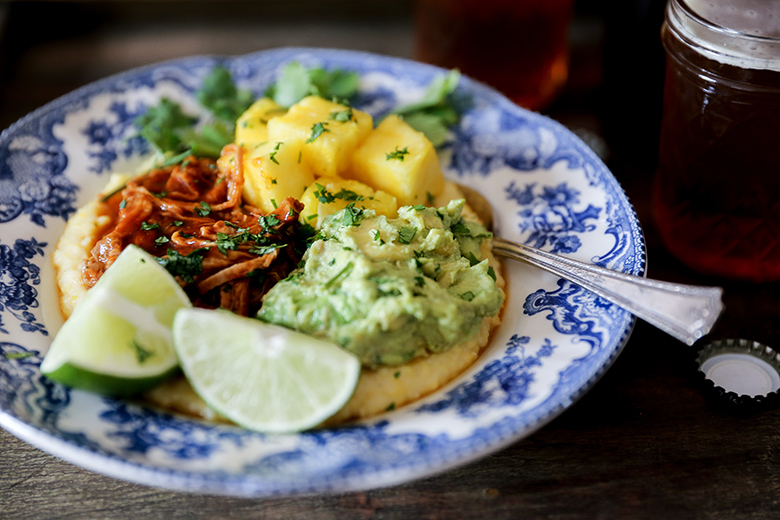 Barbecue Pork Polenta Bowls with Pineapple and Guacamole
