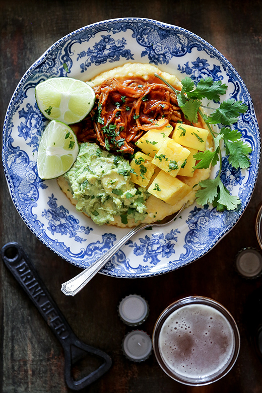Barbecue Pork Polenta Bowls with Pineapple and Guacamole | www.floatingkitchen.net