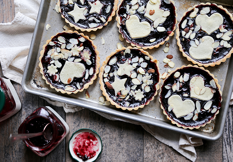 Individual Blackberry Jam and Almond Tarts