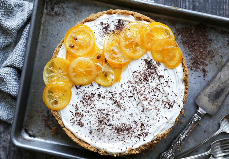 No-Bake Meyer Lemon Cheesecake with Chocolate Ganache Layer {Gluten-Free}