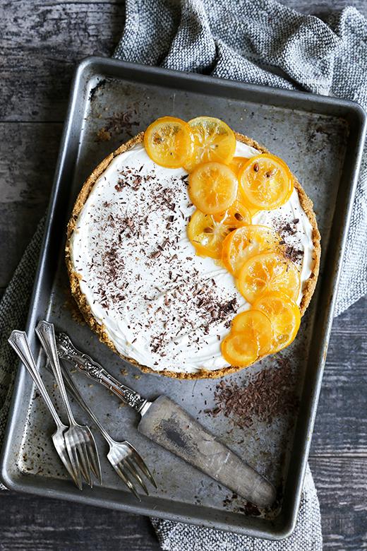 No-Bake Meyer Lemon Cheesecake with Chocolate Ganache Layer {Gluten-Free}   www.floatingkitchen.net