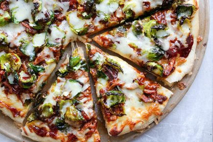 Barbecue Pulled Pork Pizza with Brussels Sprouts | www.floatingkitchen.net