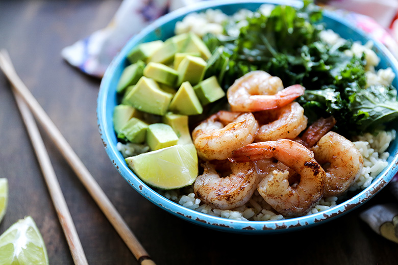Browned Butter Shrimp and Rice Bowls with Sautéed Kale and Avocado