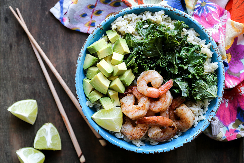 Browned Butter Shrimp and Rice Bowls with Sautéed Kale and Avocado | www.floatingkitchen.net