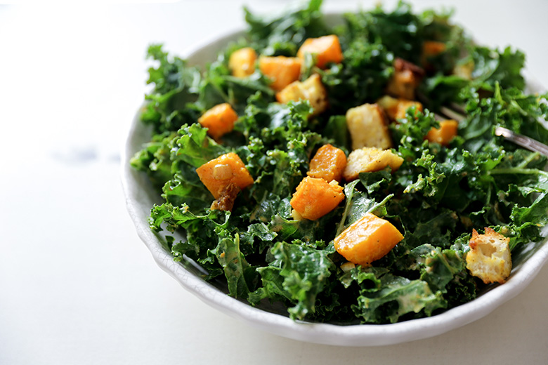 Kale and Butternut Squash Salad with Indian-Spiced Croutons