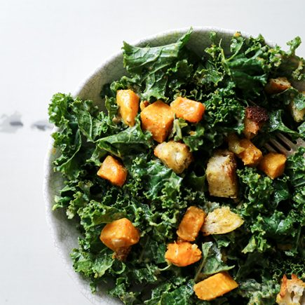Kale and Butternut Squash Salad with Indian-Spiced Croutons | www.floatingkitchen.net