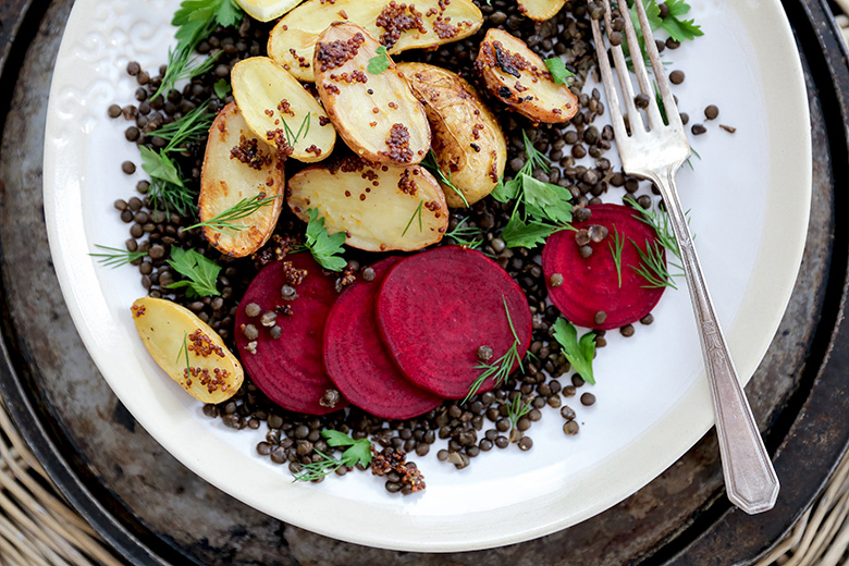 Lentil and Mustard-Roasted Potato Salad with Beets | www.floatingkitchen.net