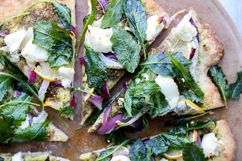 Middle Eastern Pizza with Red Onion, Fennel, Lemon, Ricotta and Kale
