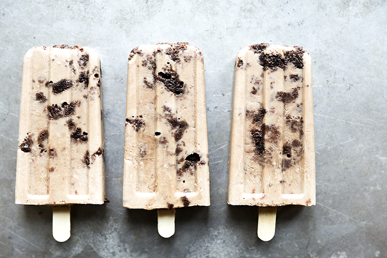 Guinness Popsicles with Irish Cream Soaked Brownies