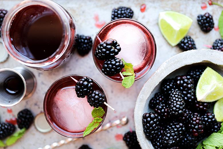 Blackberry-Ginger Shrub Rum Cocktail