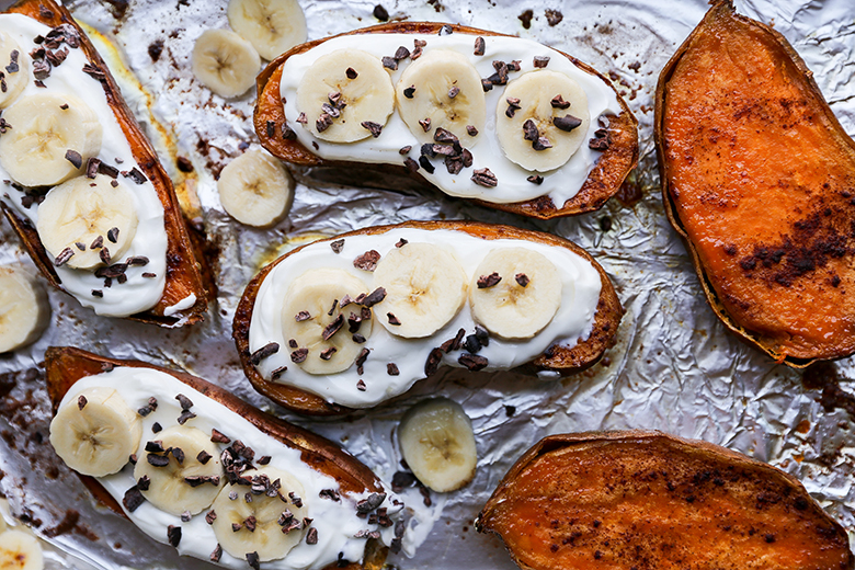 Roasted Sweet Potato and Yogurt Breakfast Boats | www.floatingkitchen.net