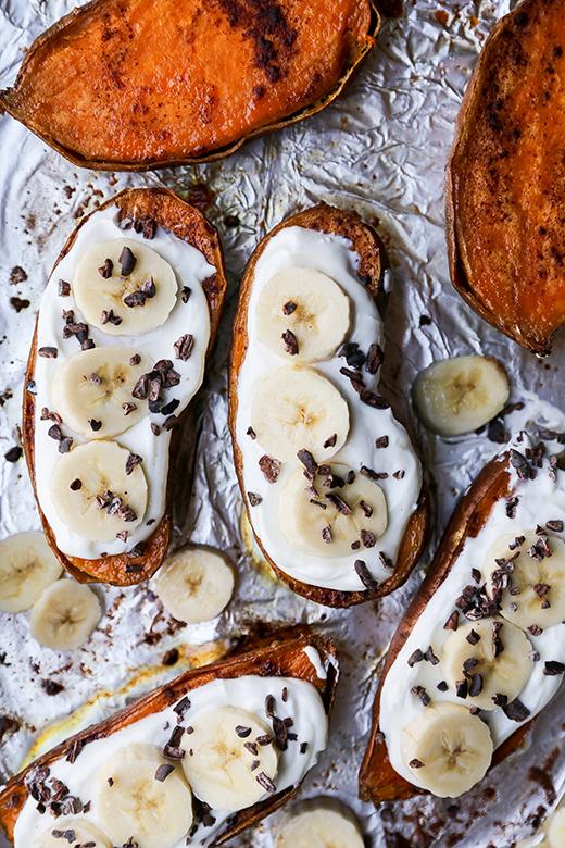 Roasted Sweet Potato and Yogurt Breakfast Boats | www.floatingkitchen.net