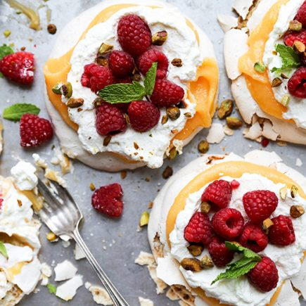 Pistachio Pavlovas with Papaya Curd and Fresh Raspberries | www.floatingkitchen.net