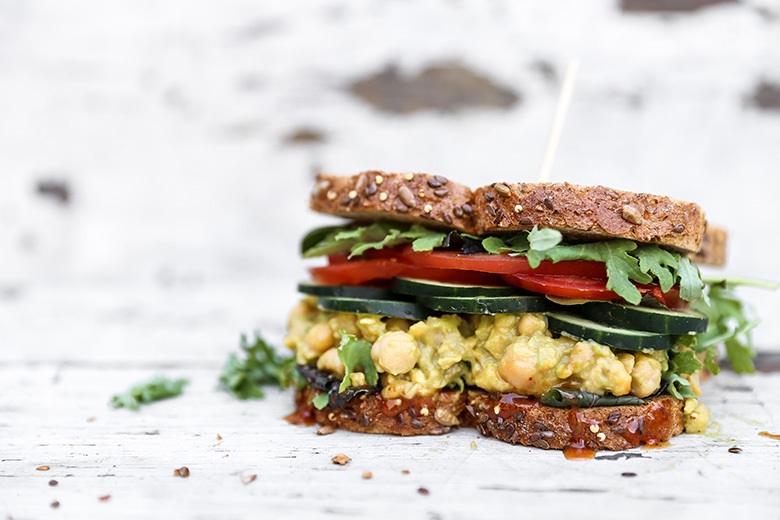 Smashed Chickpea, Avocado and Pineapple Salad Sandwiches with Sriracha Honey Mustard