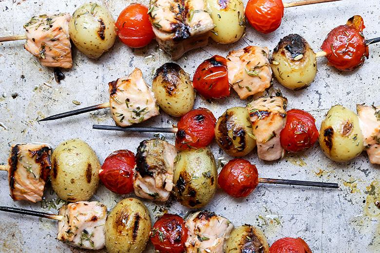 Grilled Salmon, Potato and Tomato Kebabs