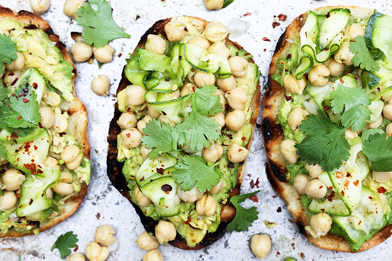 Avocado Toast with Spicy Marinated Chickpeas and Zucchini