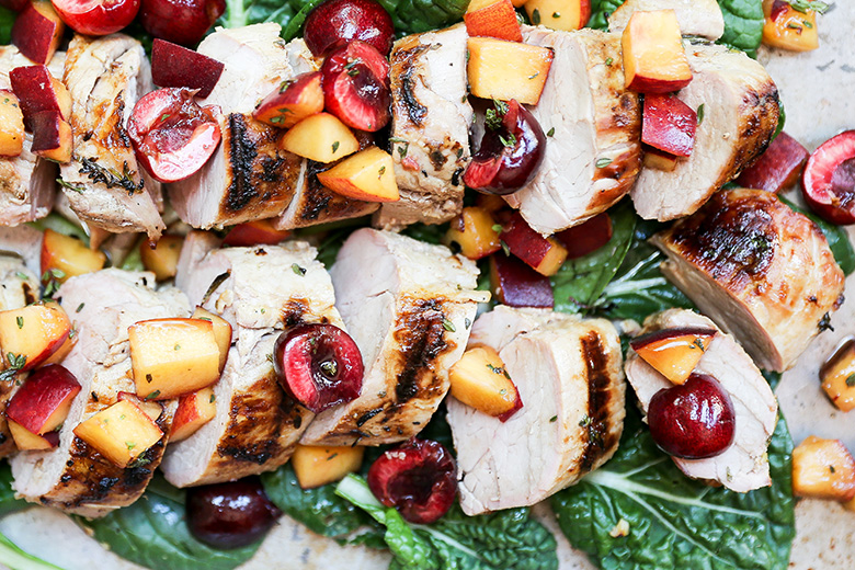 Grilled Pork Tenderloin with Peach-Cherry Salsa | www.floatingkitchen.net