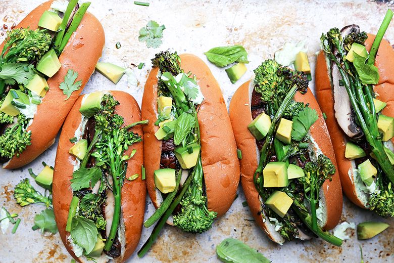 Grilled Portobello Mushroom and Broccolini Veggie Dogs | www.floatingkitchen.net