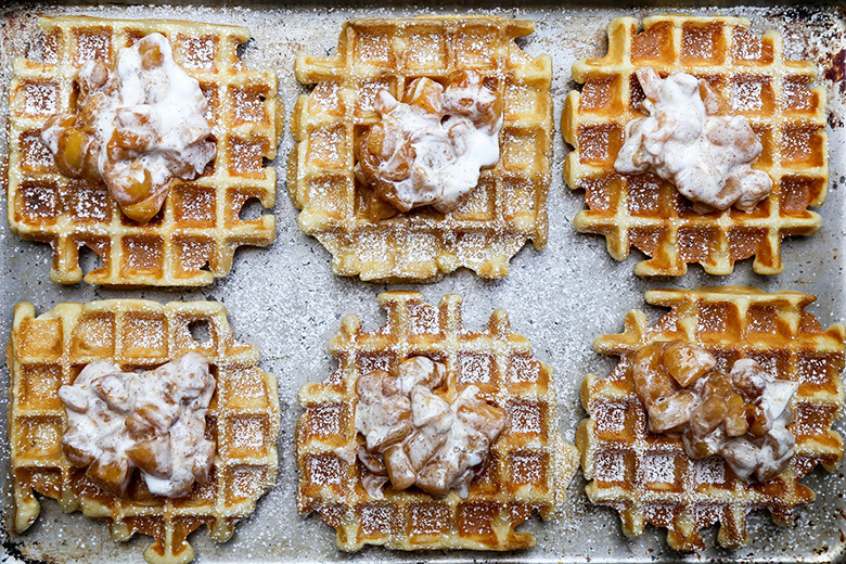 Peaches and Cream Waffles | www.floatingkitchen.net