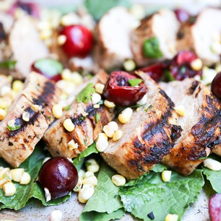 Grilled Pork Tenderloin with Spicy Corn-Cherry Salsa | www.floatingkitchen.net