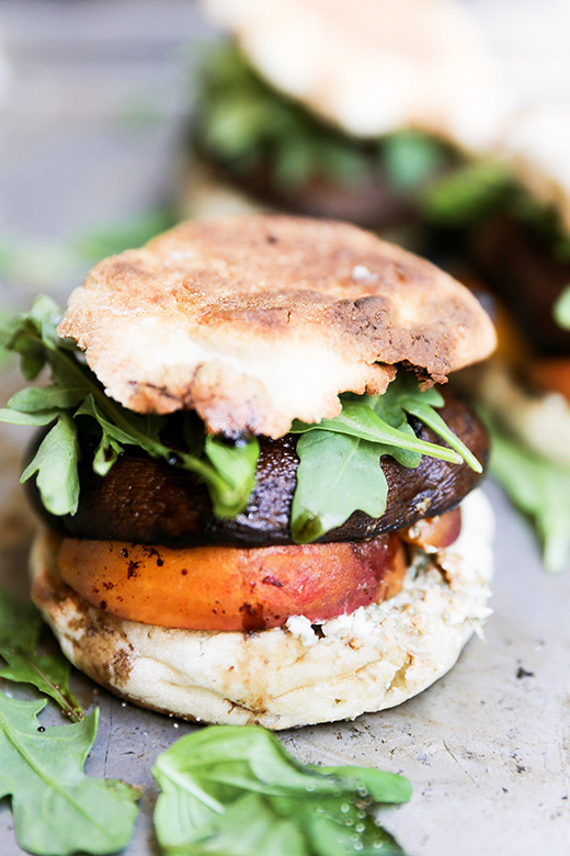 Roasted Portobello and Peach Sandwiches with Basil and Blue Cheese | www.floatingkitchen.net