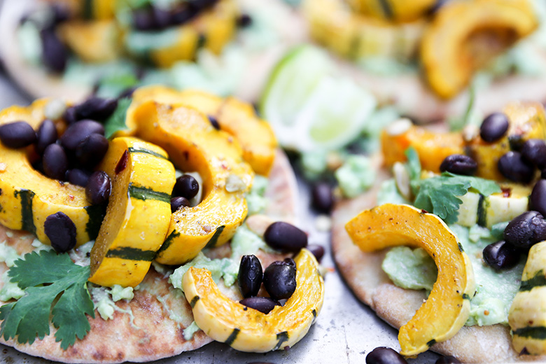 Roasted Delicata Squash Pita Tostadas with Black Beans and Guacamole