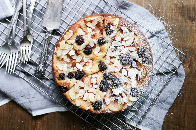 Pear and Blackberry Almond Cake