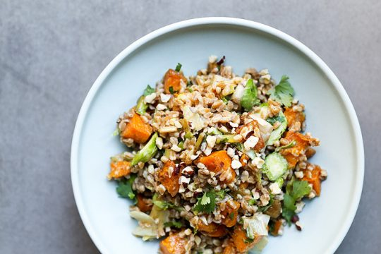 Farro Salad with Butternut Squash, Brussels Sprouts and Leeks | www.floatingkitchen.net