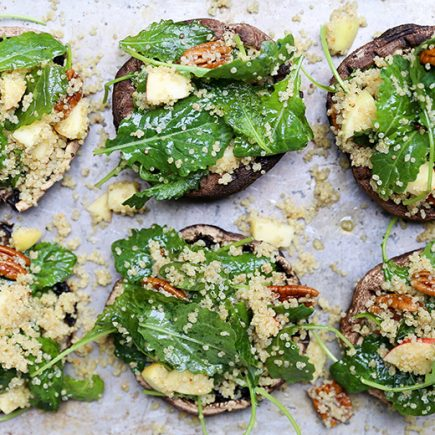 Kale and Quinoa Salad Stuffed Portobello Mushrooms with Apples and Pecans | www.floatingkitchen.net