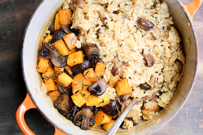 Chestnut, Mushroom and Butternut Squash Baked Risotto | www.floatingkitchen.net