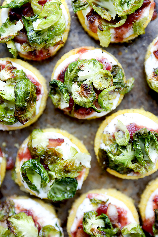 Polenta Bites with Crispy Brussels Sprout Leaves, Ricotta and Chutney | www.floatingkitchen.net