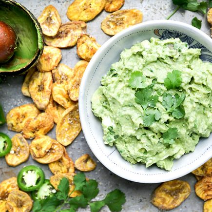 Jalapeño and Goat Cheese Guacamole with Baked Plantain Chips | www.floatingkitchen.net