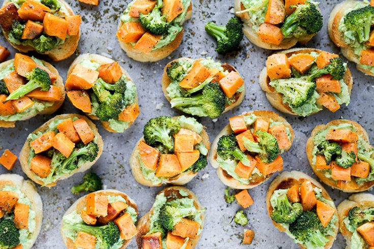 Roasted Sweet Potato and Broccoli Crostini with Avocado and Za'atar