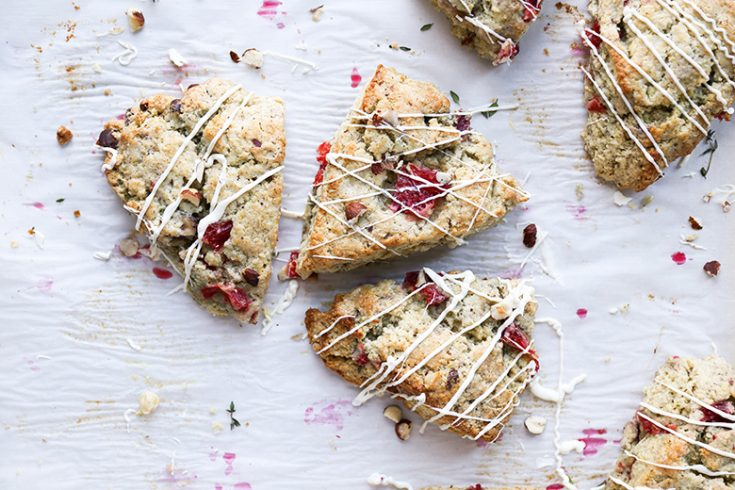 Blood Orange Scones with Hazelnuts, Thyme and White Chocolate Drizzle