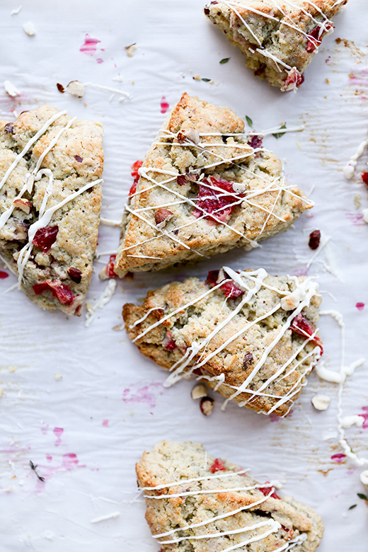 Blood Orange Scones with Hazelnuts, Thyme and White Chocolate Drizzle | www.floatingkitchen.net