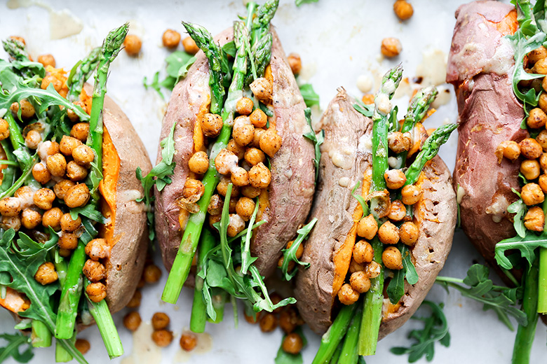 Stuffed Sweet Potatoes with Chickpeas, Asparagus and Arugula
