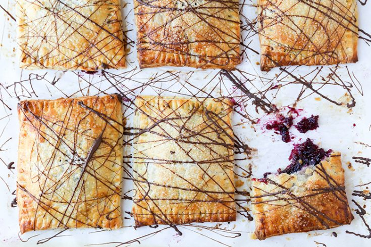 Rhubarb-Berry Hand Pies with Chocolate