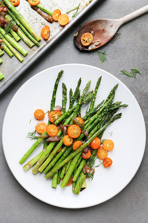 Roasted Asparagus with Sautéed Shallots and Kumquats | www.floatingkitchen.net