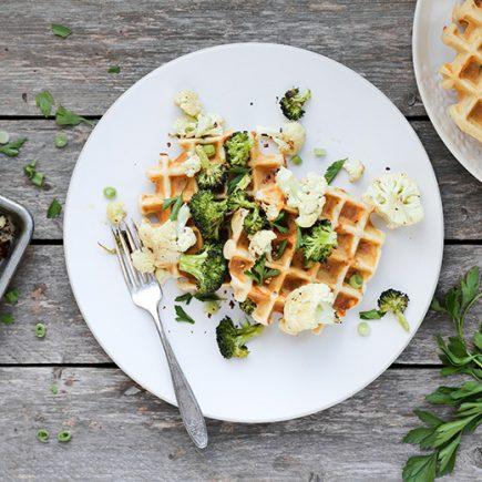 Savory Waffles with Roasted Broccoli and Cauliflower | www.floatingkitchen.net