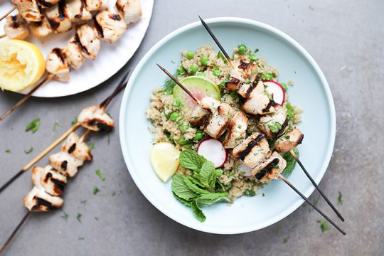 Beer-Marinated Grilled Chicken Skewers with Spring Quinoa Salad | www.floatingkitchen.net
