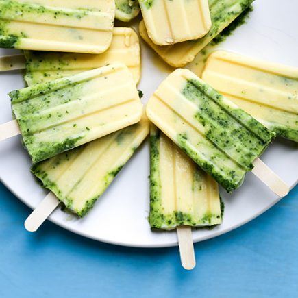 Creamy Coconut Mango Margarita Popsicles with Basil | www.floatingkitchen.net