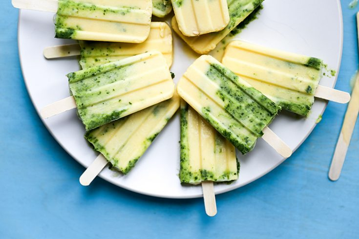 Creamy Coconut Mango Margarita Popsicles with Basil