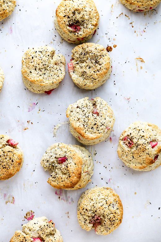 Mini Rhubarb and Jasmine Tea Cream Scones | www.floatingkitchen.net