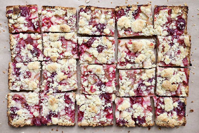 Cherry-Rhubarb Pie Bars | www.floatingkitchen.net