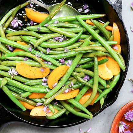 Blistered Green Beans with Apricots and Chive Blossoms | www.floatingkitchen.net