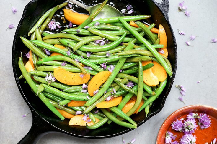 Blistered Green Beans with Apricots and Chive Blossoms
